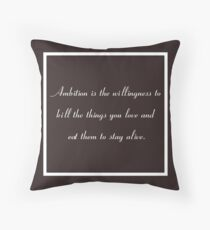 30 Rock Inspired Brown TV Show Jack Donaghy Quote, Ambition Throw Pillow