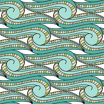 Abstract stylish background pattern with waves by genevskayamariy