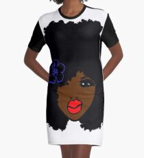 Brownskin curly Afro Natural Hair Flower  Graphic T-Shirt Dress