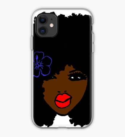 Brownskin curly Afro Natural Hair Flower  iPhone Case