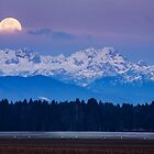 Full Moon setting over the Julian Alps by Ian Middleton