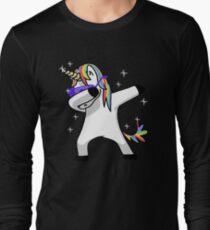 Dabbing Unicorn Shirt Dab Hip Hop Funny Magic Long Sleeve T-Shirt