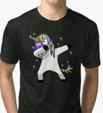 Dabbing Unicorn Shirt Dab Hip Hop Funny Magic Tri-blend T-Shirt