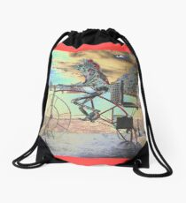 Frog Cycling, Sculptures By The Sea, Australia 2011 Drawstring Bag