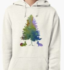 Rabbits under a fir Pullover Hoodie