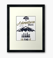 Vintage Adventure Typography Label Framed Print