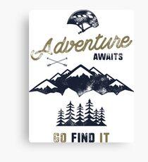 Vintage Adventure Typography Label Canvas Print