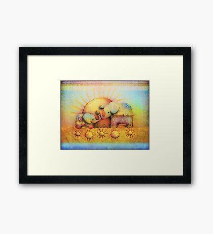 rainbow elephant blessing Framed Print
