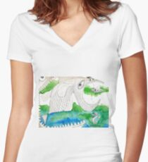 Big Fish Little Fish Women's Fitted V-Neck T-Shirt