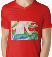Big Fish Little Fish Mens V-Neck T-Shirt