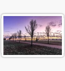 Country dirt road with purple sky Sticker