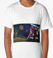 Block Boston and Beagle Space War Illustration Long T-Shirt