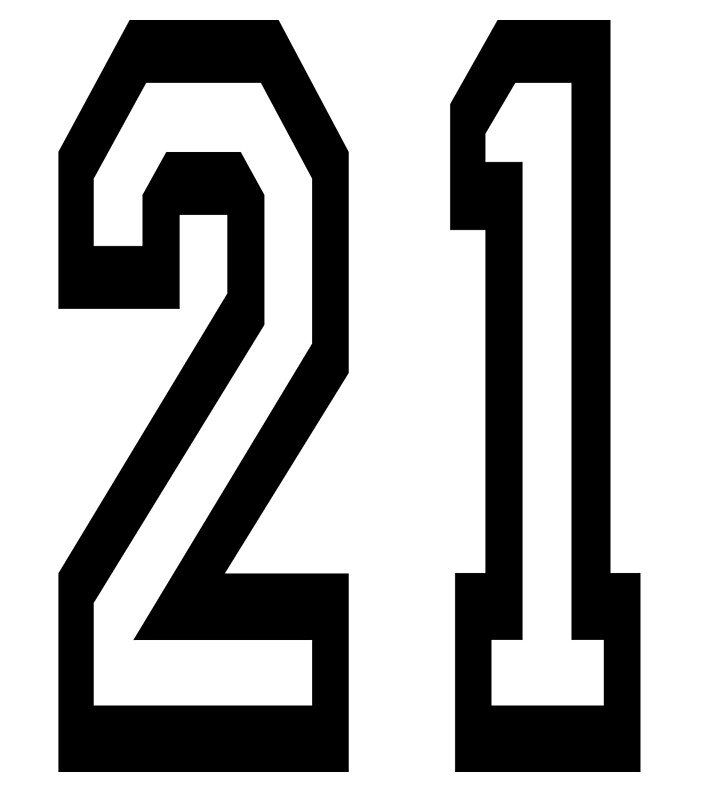 """21, TEAM SPORTS, NUMBER 21, TWENTY ONE, TWENTY FIRST, TWO ..."