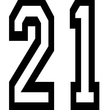 21, TEAM SPORTS, NUMBER 21, TWENTY ONE, TWENTY FIRST, TWO, ONE, Competition,  by TOMSREDBUBBLE