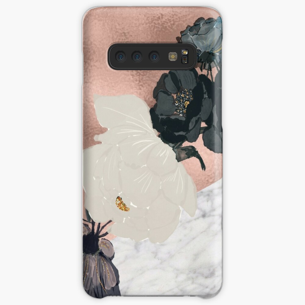 Floral Marmor Roségold Hülle & Klebefolie für Samsung Galaxy