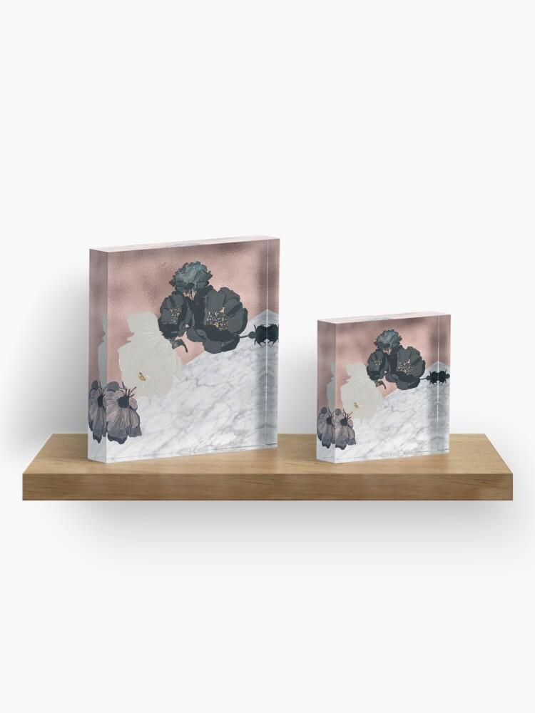 Alternative Ansicht von Floral Marmor Roségold Acrylblock
