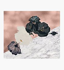 Floral marble rose gold Photographic Print