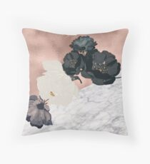 Floral marble rose gold Throw Pillow