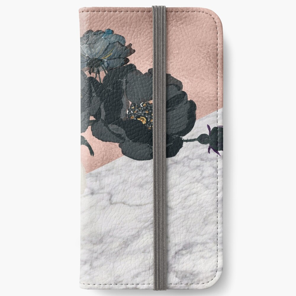 Floral Marmor Roségold iPhone Flip-Case