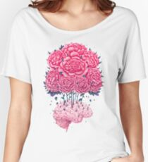 Creative Brains with peonies  Women's Relaxed Fit T-Shirt