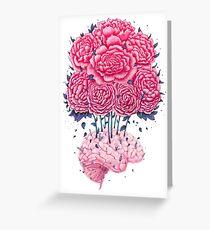 Creative Brains with peonies  Greeting Card