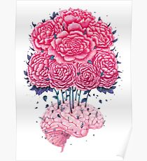 Creative Brains with peonies  Poster