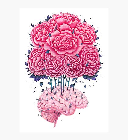 Creative Brains with peonies  Photographic Print