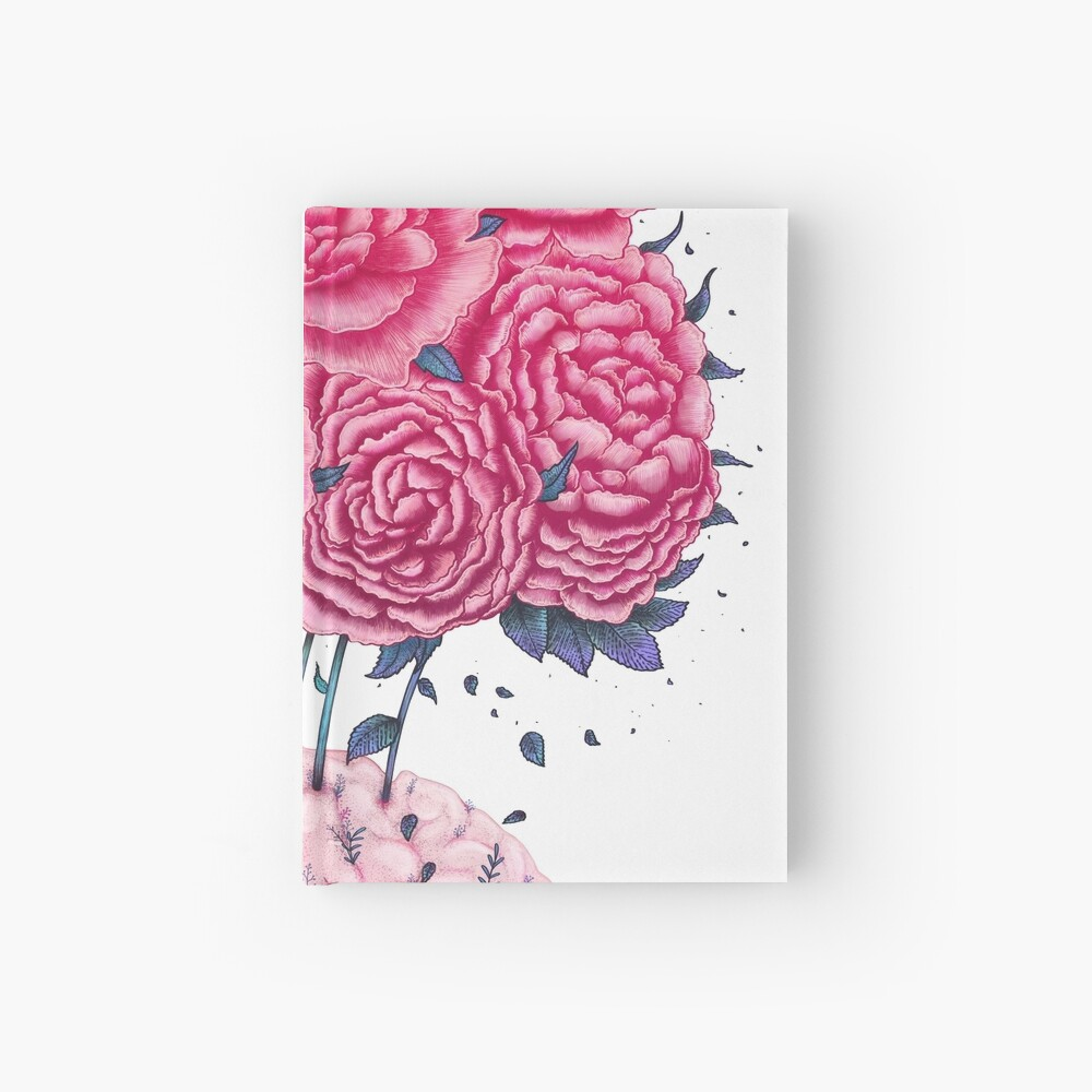 Creative Brains with peonies  Notizbuch