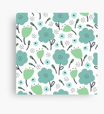 Blue and green doodle flower pattern. Seamless retro cute background. Vector illustration. Canvas Print