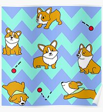 Cute Corgi Compilation with background Poster