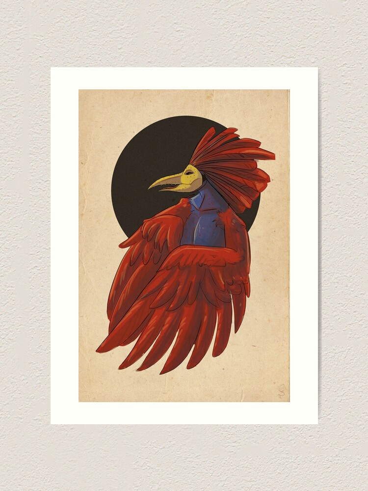 Alternate view of Gallo with mask Art Print