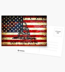 American Flag And Viper On Rusted Metal Door - Don't Tread On Me Postcards