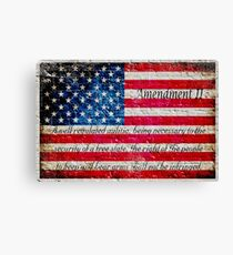 Distressed American Flag And Second Amendment On White Bricks Wall Canvas Print
