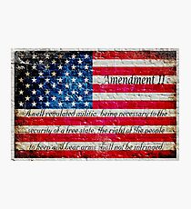 Distressed American Flag And Second Amendment On White Bricks Wall Photographic Print
