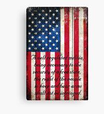 Vintage American Flag And 2nd Amendment On Old Wood Planks Canvas Print