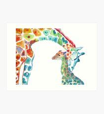 Giraffe Mommy and Baby Art Print