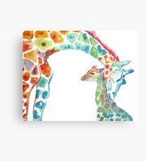 Giraffe Mommy and Baby Metal Print
