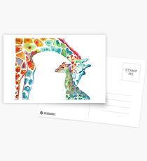 Giraffe Mama und Baby Postkarten