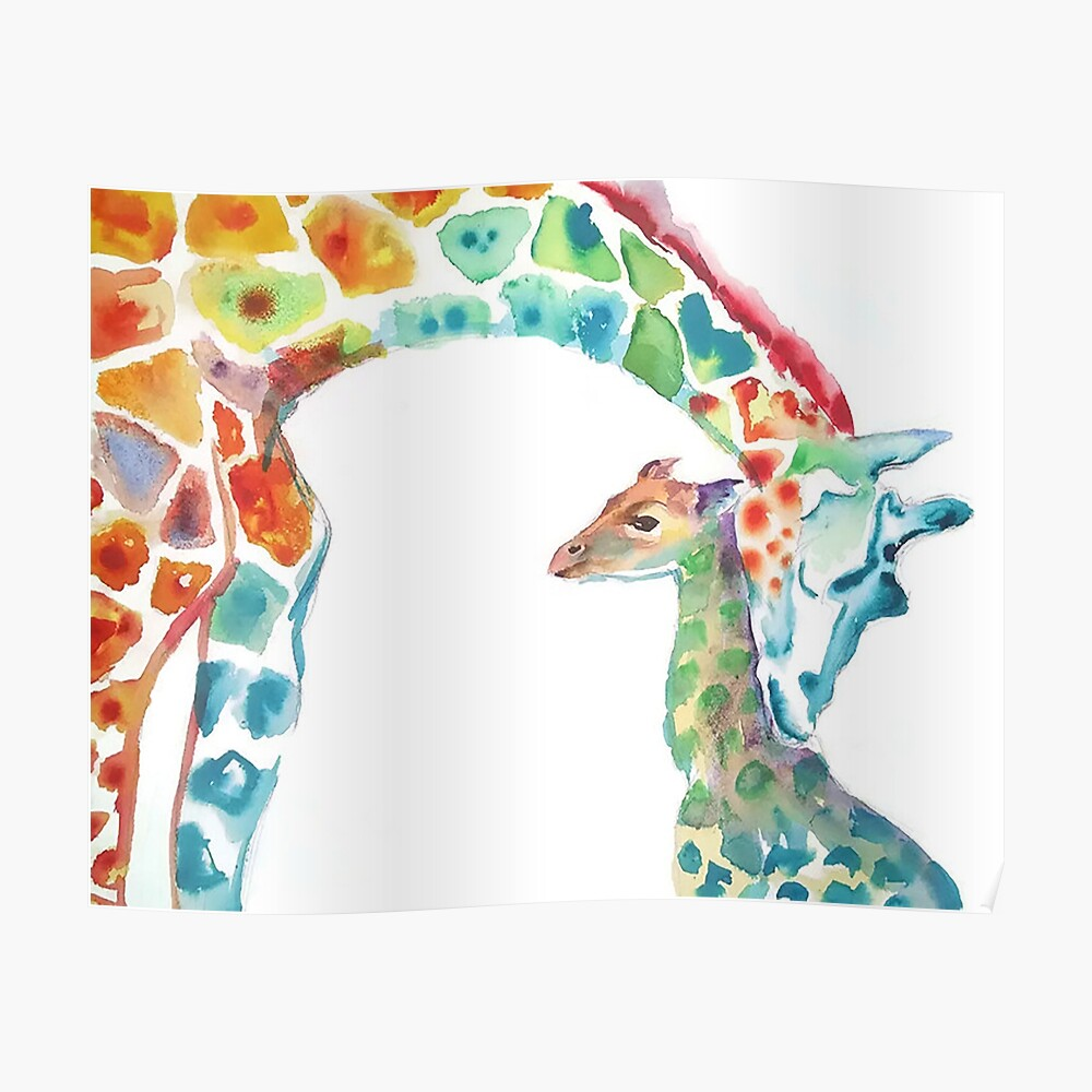 Giraffe Mama und Baby Poster
