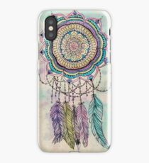Modern tribal hand paint dreamcatcher mandala design iPhone Case/Skin