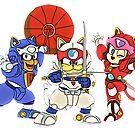 Samurai Pizza Katzen, Retro, Vintage, Manga von RainbowRetro