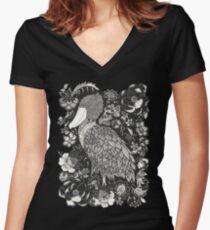 Shoebill in the Garden Women's Fitted V-Neck T-Shirt
