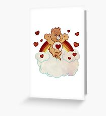 Vintage style Care Bears Tenderheart Bear 80's Greeting Card