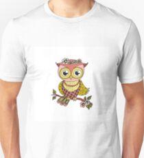 Cute colorful cartoon owl sitting on tree branch Unisex T-Shirt