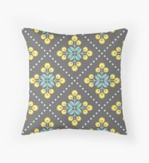Scandinavian flowers 01, yellow, gray and teal, diamond pattern  Throw Pillow