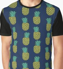 Pineapple stripes pattern by andrea lauren navy minimal fruit summer trendy print design Graphic T-Shirt