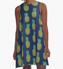 Pineapple stripes pattern by andrea lauren navy minimal fruit summer trendy print design A-Line Dress