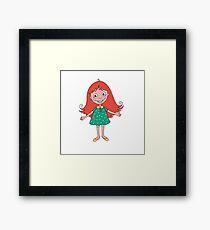 Funny cute girl in cartoon style Framed Print