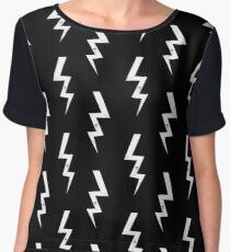 Bolts lightning bolt pattern black and white minimal cute patterned gifts by CharlotteWinter Women's Chiffon Top