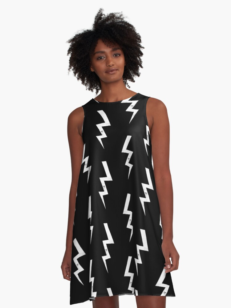 5b541ea912 Bolts lightning bolt pattern black and white minimal cute patterned gifts  by CharlotteWinter A-Line